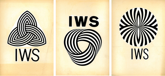 Three of the nine logo proposals that Grignani sent to the International Wool Secretariat in 1963. All nine were shown displayed on a page from a diary in an exhibition in 1995 – the originals were rediscovered in 2013