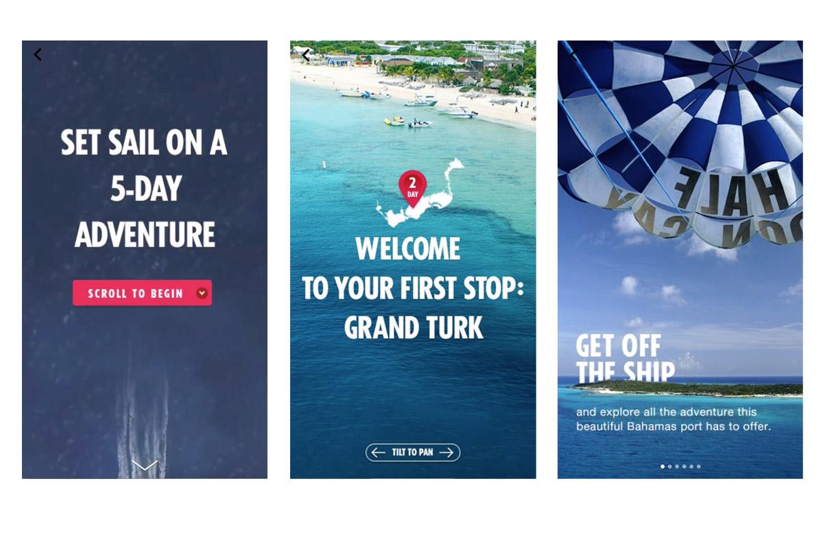 Carnival Cruises campaign using Facebook Canvas