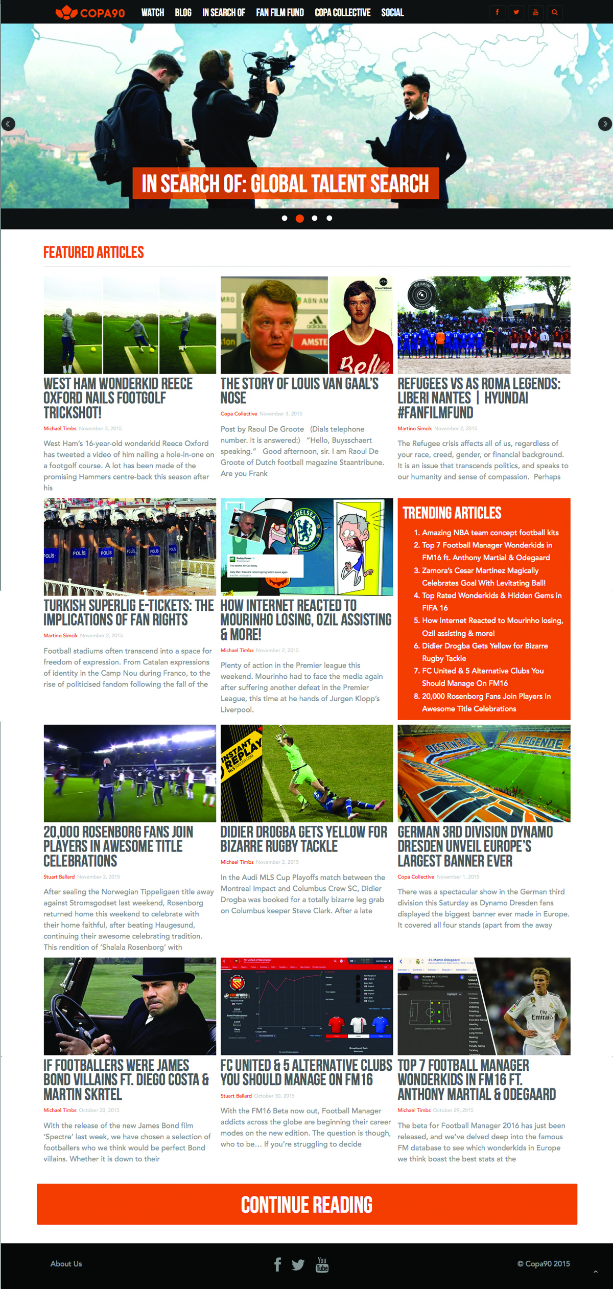 Homepage at copa90.com.