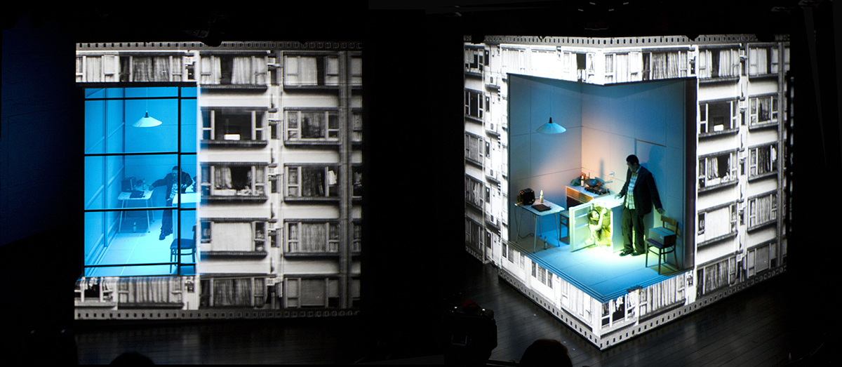 Set for play Chimerica, by Lucy Kirkwood for Headlong Theatre at Almeida Theatre, London