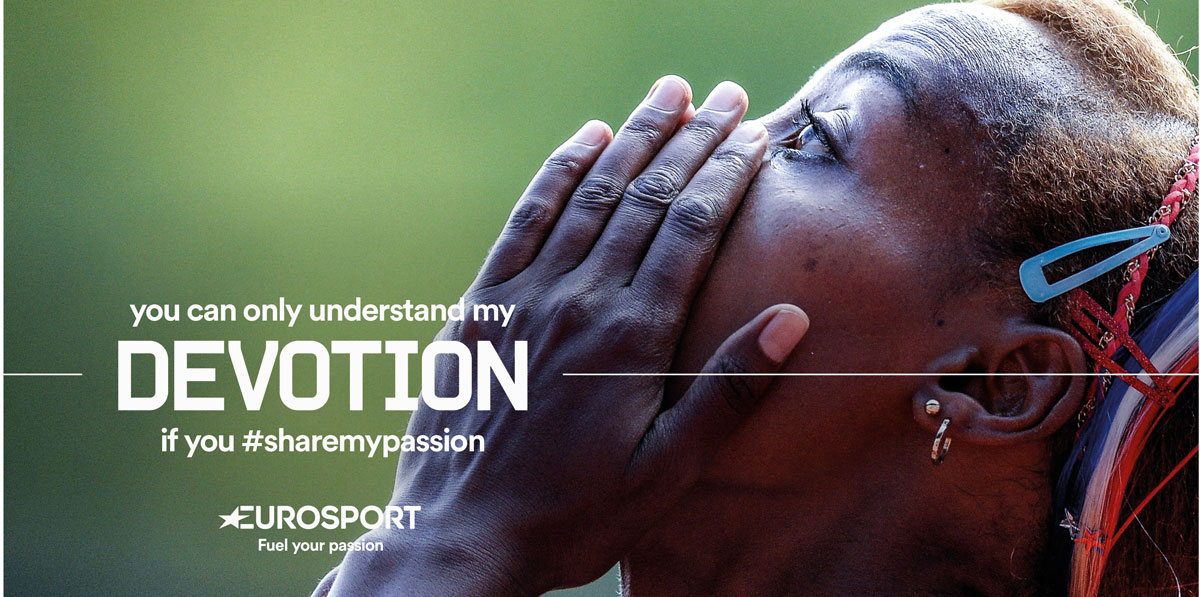 Eurosport ads feature close-ups of athletes during gruelling moments or victory