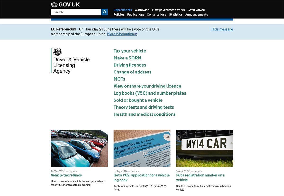 Screenshot of the DVLA website