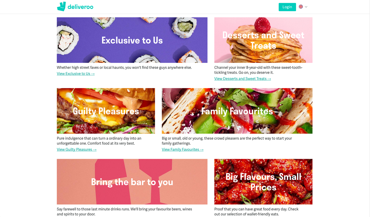 Deliveroo's website features bold colours and up-close images of food