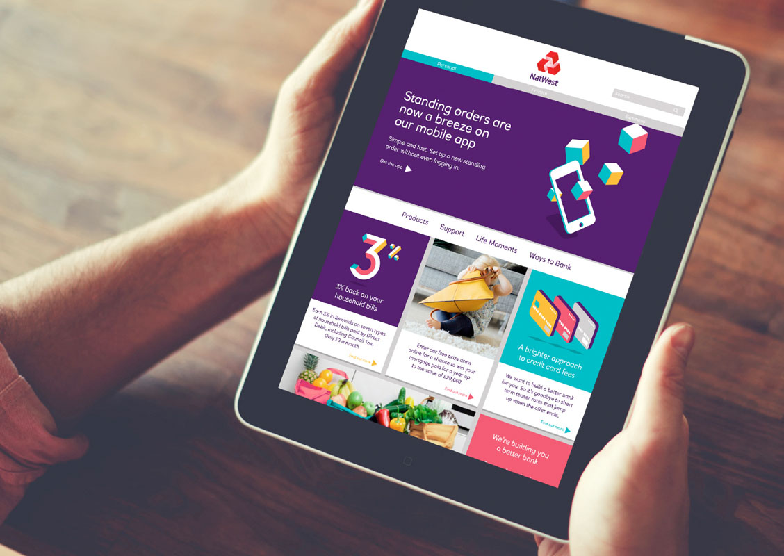 The new NatWest branding in use online