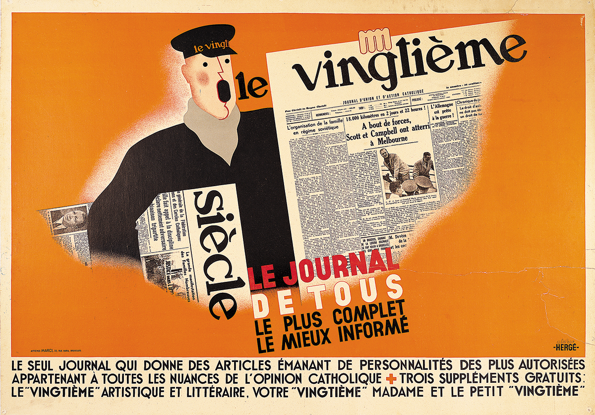 Poster for the Vingtième Siècle newspaper; La Tente magazine cover illustration and lettering, 1936