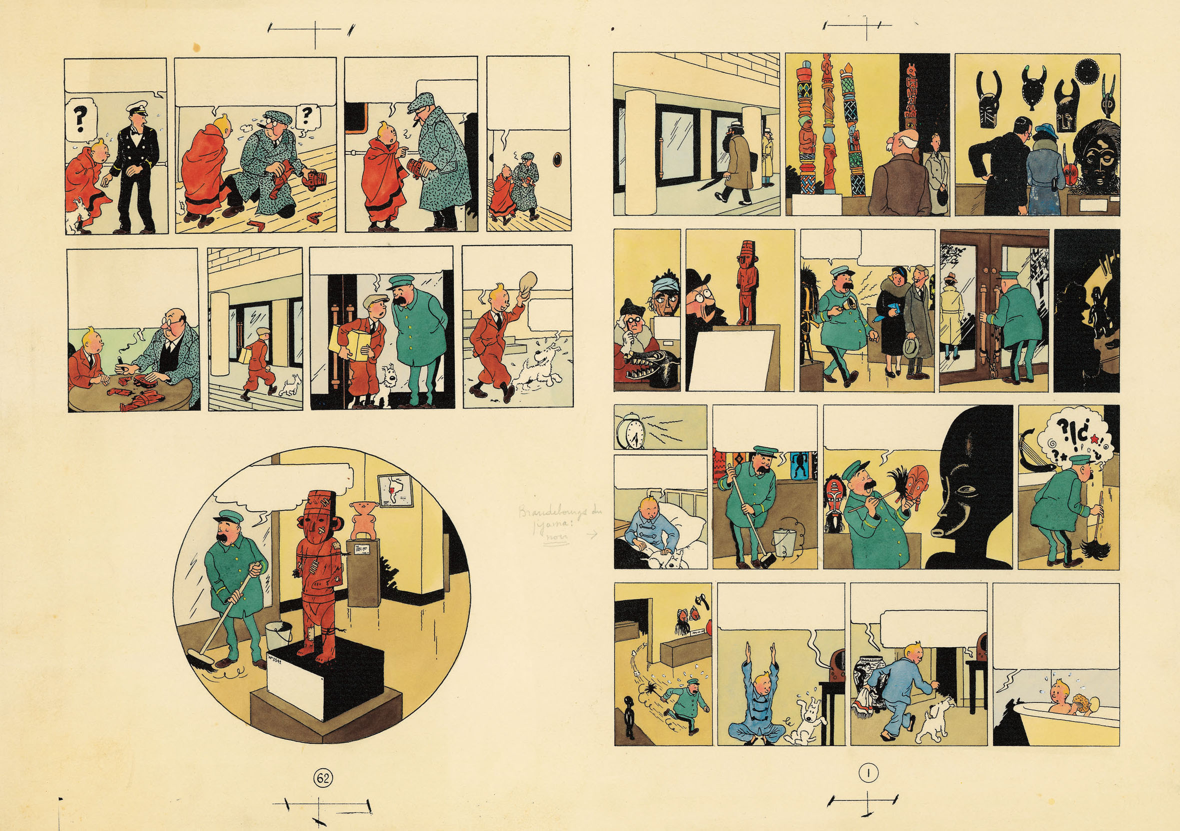 lue colouring for sheets 1 and 62 of Les Aventures de Tintin – L'Oreille cassée, 1956 (watercolour and gouache applied on printed proof).