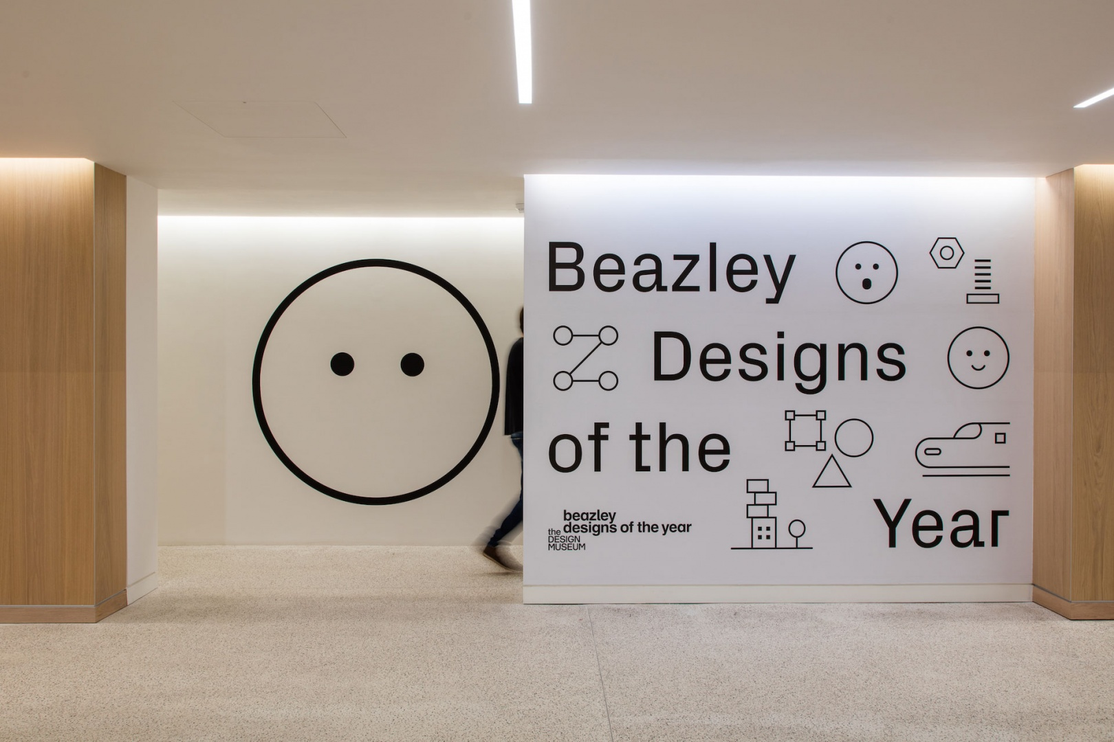 Entrance to Beazley Designs of the Year, with graphics by Studio Hato. Image: Luke Hayes