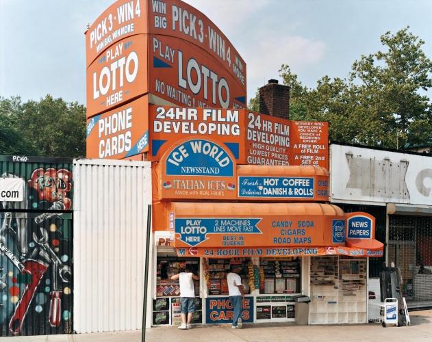 Ice World Newsstand – 91‐17 Astoria Boulevard, Queens, July 2003, by Joel Sternfeld