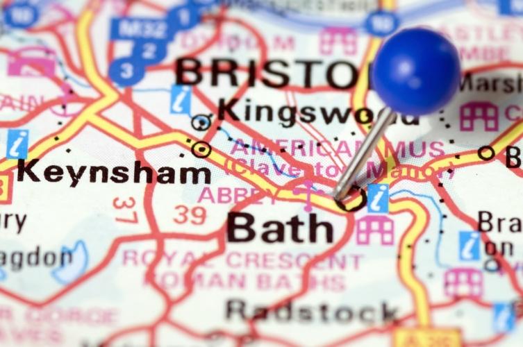 Bath, UK, Thumbtack in map. Travel destination