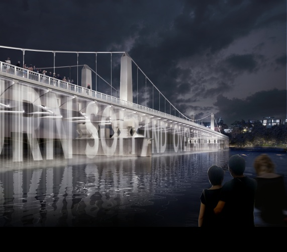 Water Screen with Projected Content (Chelsea Bridge) (c) MRC and Diller Scofidio + Renfro