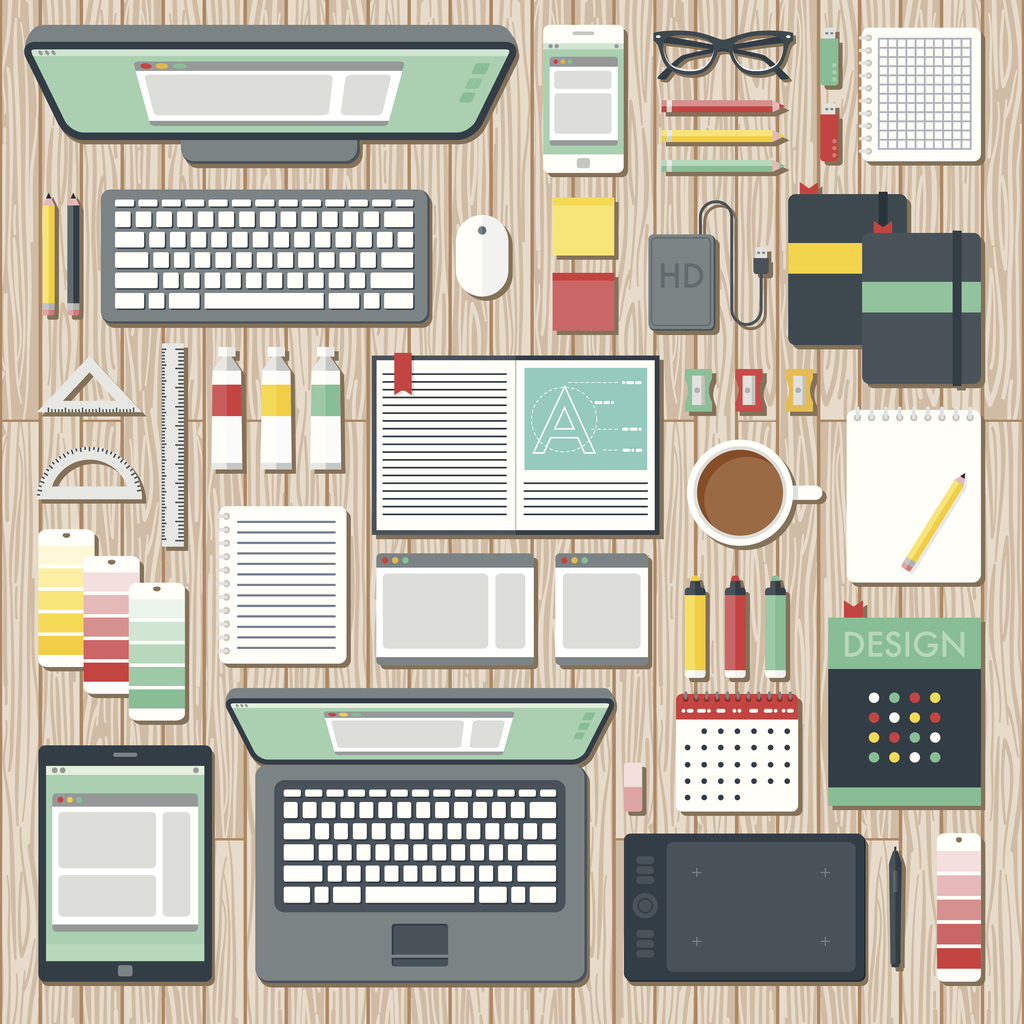 An overhead view of items you might find on the desk of a graphic designer, including: Laptop, tablet, smart phone, computer, sketchbooks, color swatches, paints, pencils, pens, coffee, design books, calendar, drawing tablet, backup hard drive, USB Flash drives, rulers, and so on. No gradients or transparencies used. File is organized into layers and each icon is properly grouped for easy editing. Click below to see similar files: [url=/search/lightbox/10504718 t=_blank][img]http://i764.photobucket.com/albums/xx286/bortonia/banner-bortonia-icons.jpg[/img][/url]