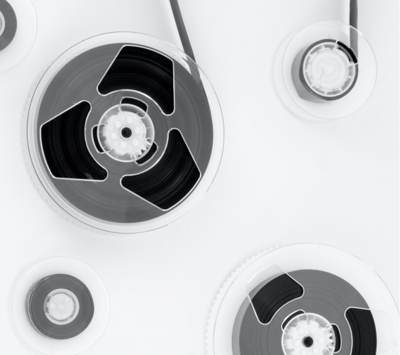 tape reels on white surface