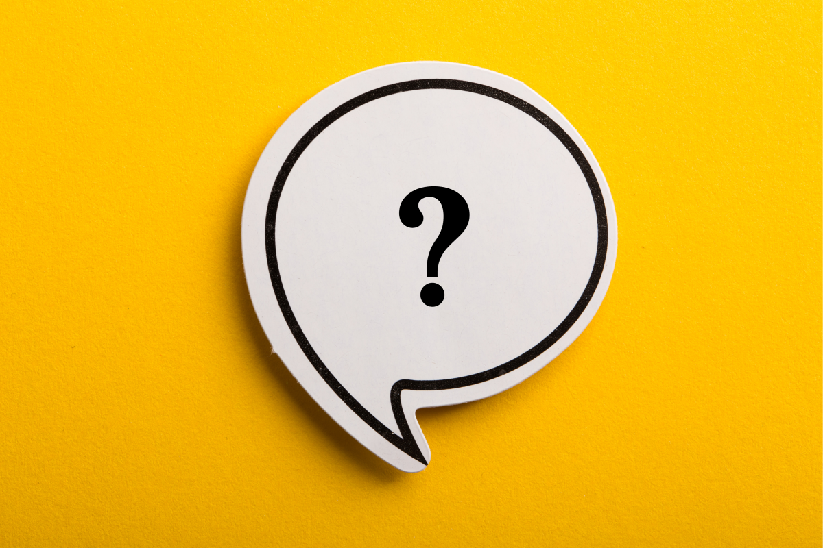 question mark in speech bubble on yellow background
