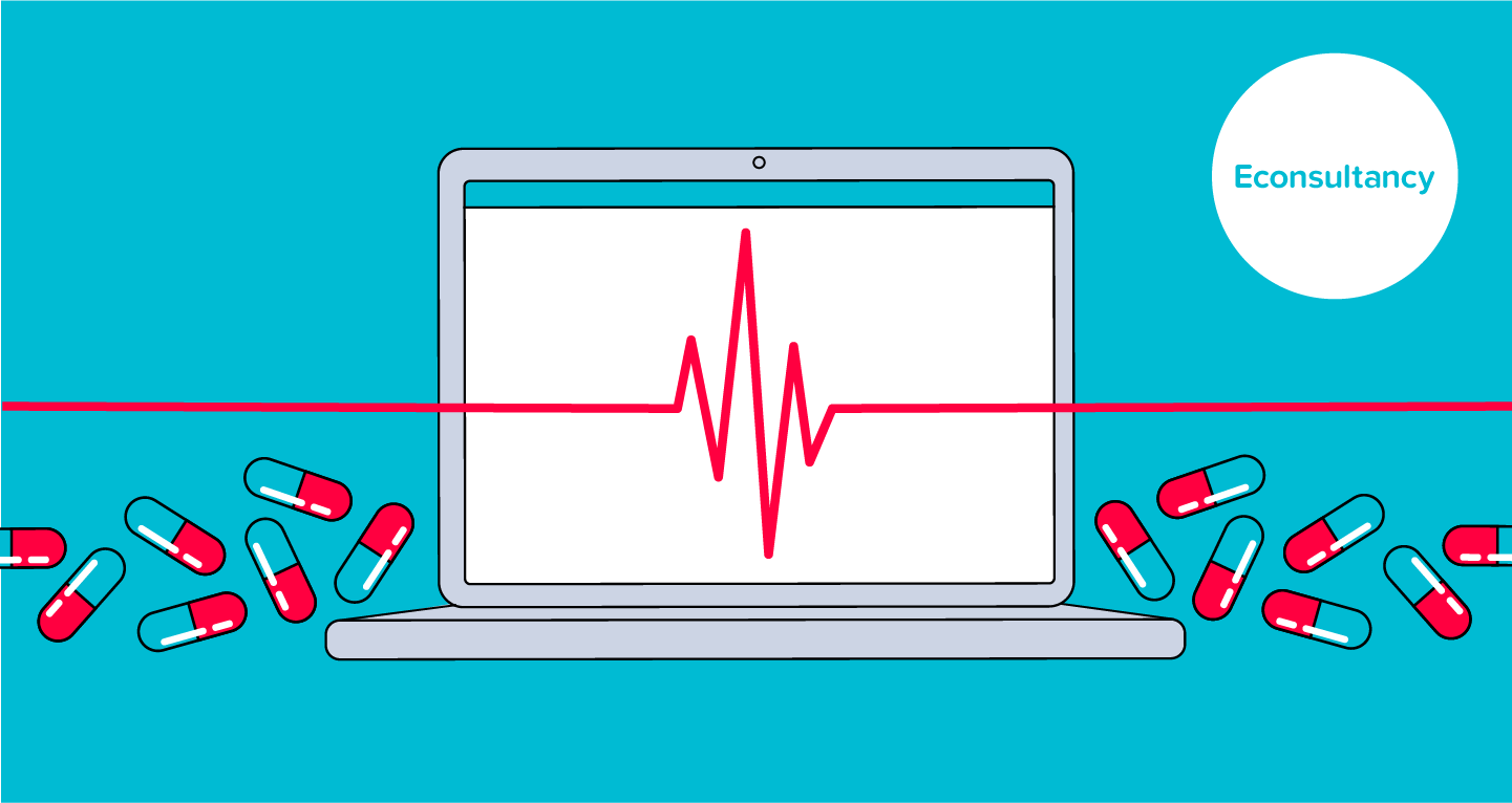 Graphic featuring a laptop with a heart monitor line cutting across the middle of its screen, with clusters of pills either side.