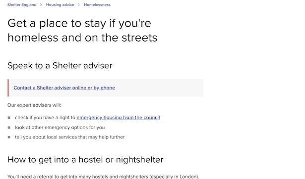 shelter website addressing need