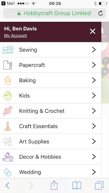 hobbycraft menu