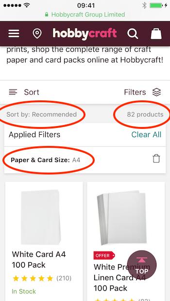 filters hobbycraft pwa