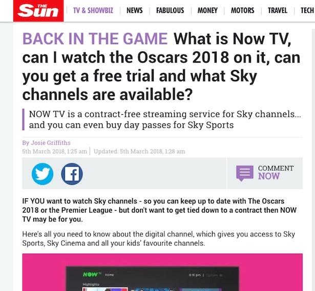 now tv sun article