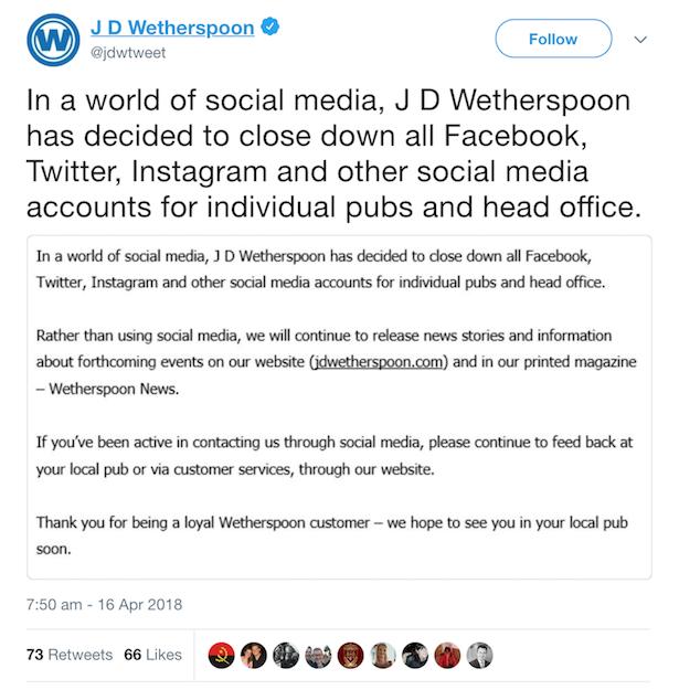 wetherspoons social media statement