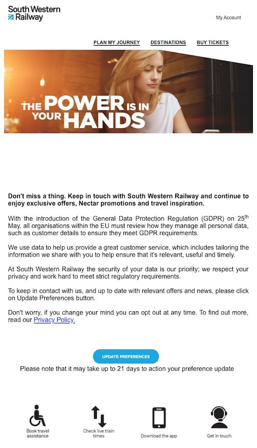 south western railway opt-in email
