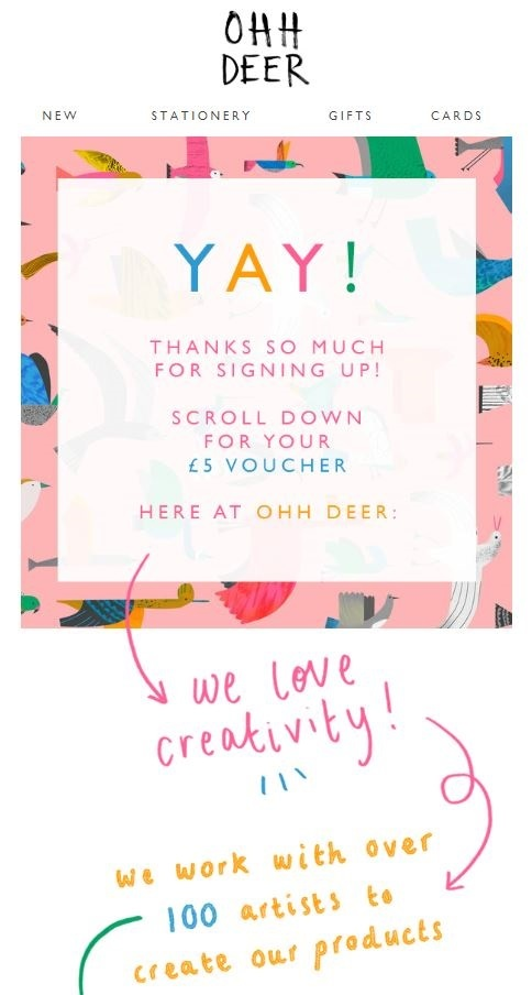 ohh deer welcome email