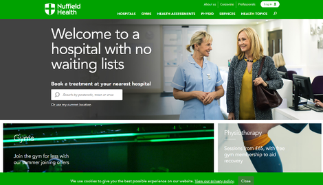 Nuffield Health website homepage