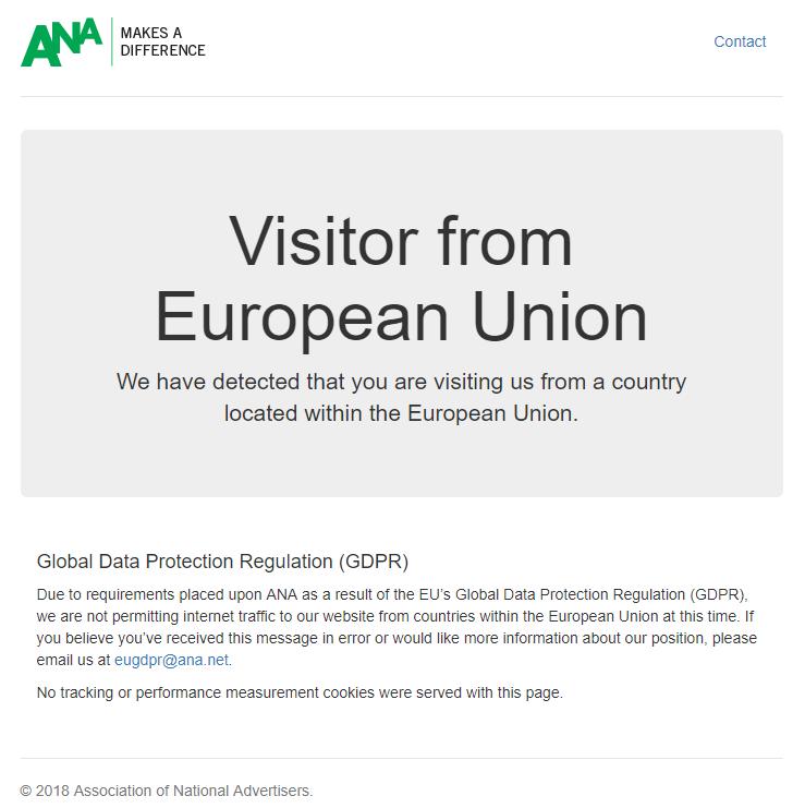 ANA GDPR message