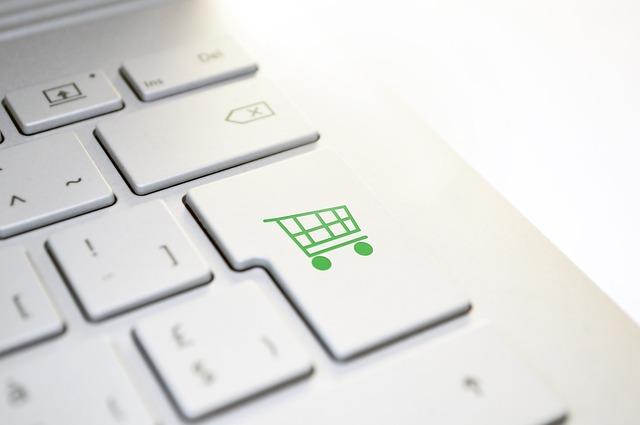 shopping basket on a keyboard