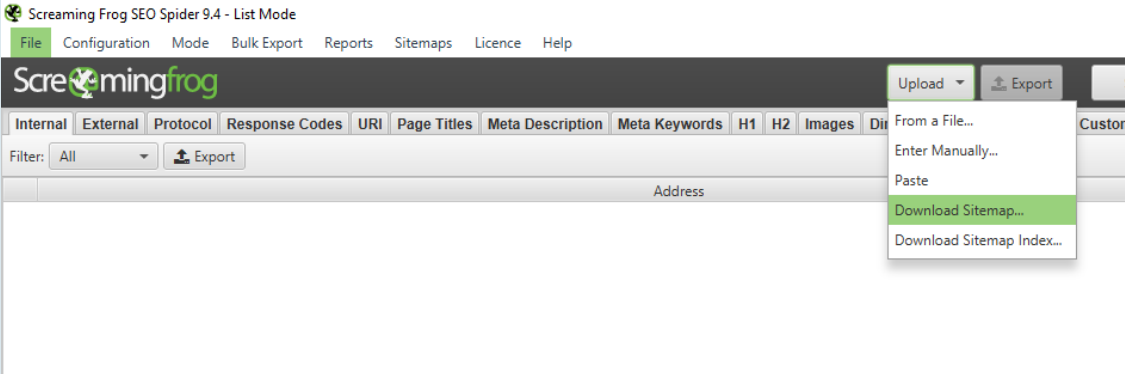 Screenshot of Screaming Frog SEO Spider in List Mode, with an Upload menu open and the option Download Sitemap... selected.