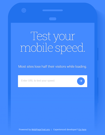 Google's mobile speed test tool homepage
