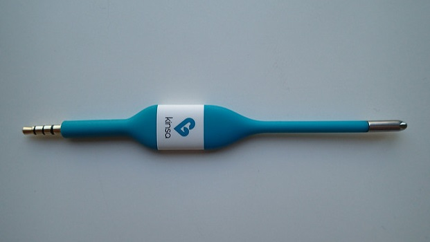 A blue Kinsa smart thermometer