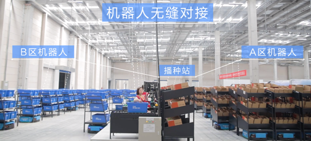 Promotional image of a large warehouse with crates and boxes sitting on black shelving units.