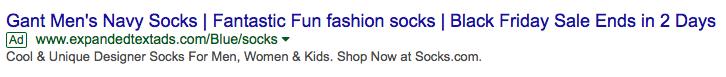 A PPC ad reading: Gant Men's Navy Socks | Fantastic Fun fashion socks | Black Friday Sale ends in 2 days