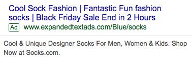 A PPC ad reading: Cool sock fashion | fantastic fun fashion socks | Black Friday sale end in 2 hours