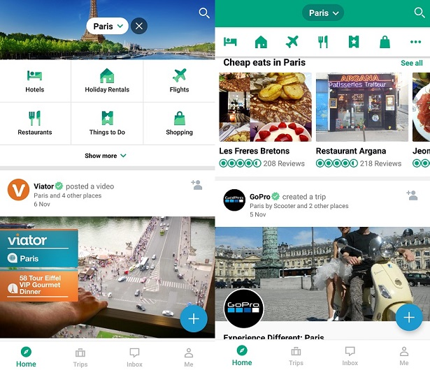 Two side-by-side screenshots from the Trip Advisor app, showing videos and recommendations for things to do in Paris.