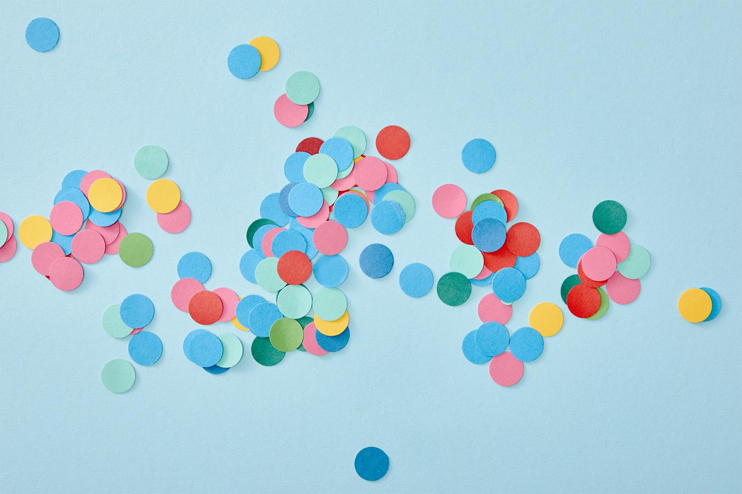 Confetti on a blue background