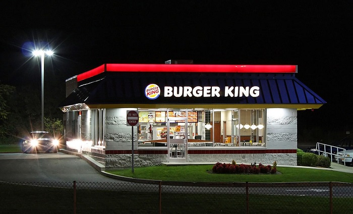 Burger King Restaurant, Rt.1 Saugus, Massachusetts USA. Night view.
