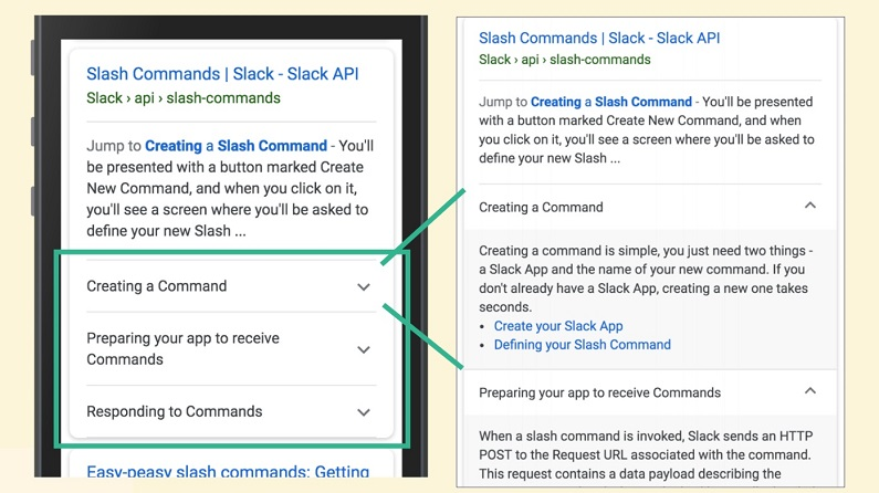 Two side-by-side smartphone screens, one showing rich results for a Slack how-to guide on slash commands, the other showing what the result looks like expanded.
