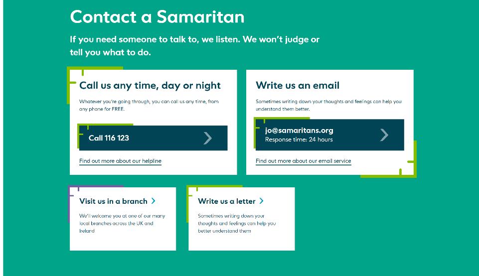 7 Samaritans contact details