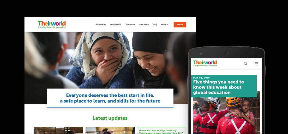 Theirworld website header desktop and mobile