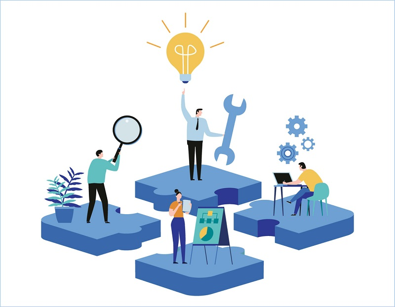 Vector graphic depicting employees learning and sharing ideas