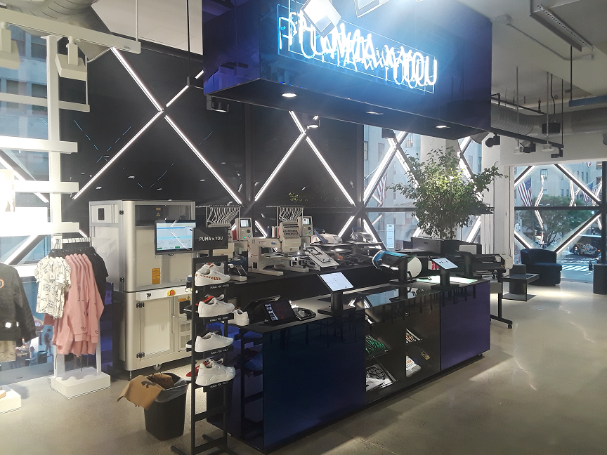 The PUMA X YOU customisation zone in Puma's NYC flagship store