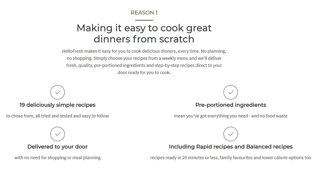 A screencap from the HelloFresh website advertising reasons to subscribe to HelloFresh, including simple recipes, pre-portioned ingredients and no need for shopping or meal planning.