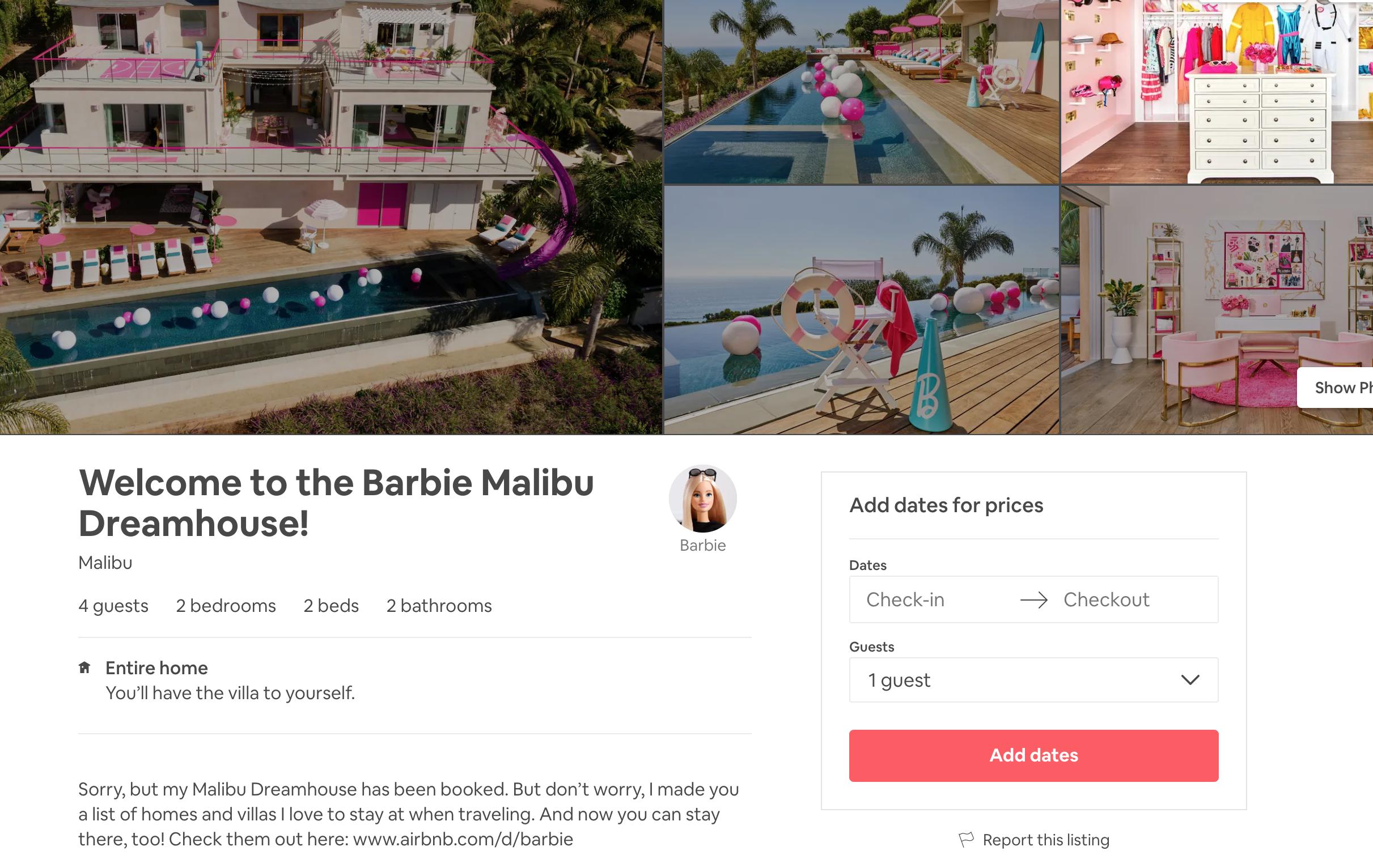 barbie airbnb