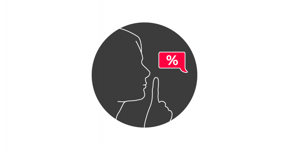 Graphic of a person's face in profile, holding a finger up to their lips against a red speech bubble with a percentage sign in it.