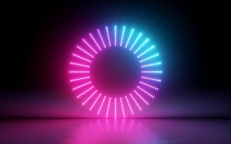 neon lights in ring on dark background