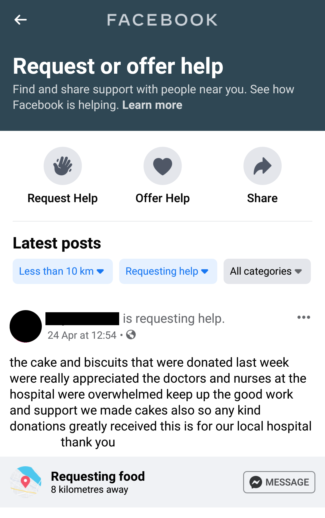 Facebook Request or Offer Help