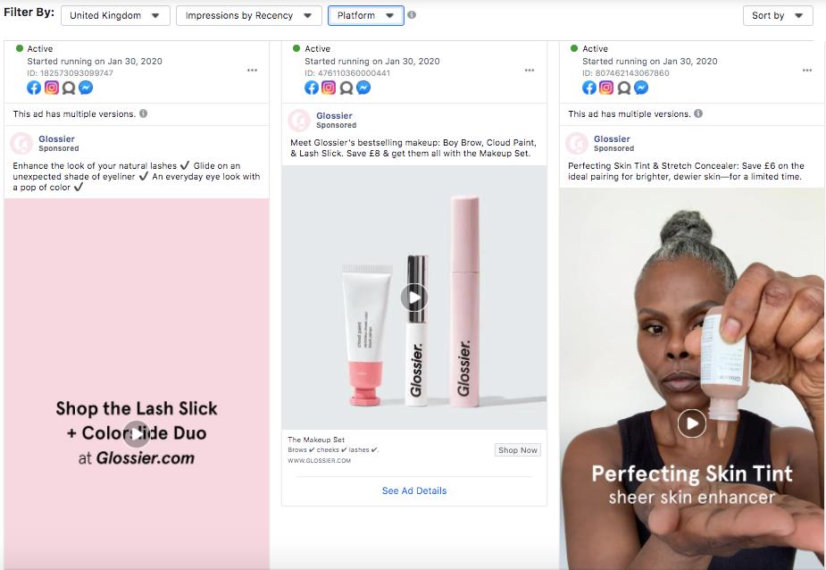glossier facebook instagram ad variations