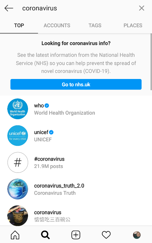 Instagram search coronavirus