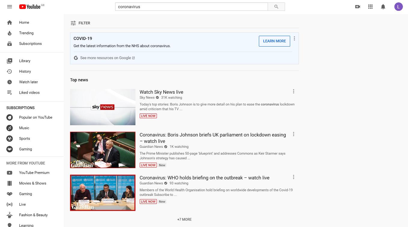 youtube coronavirus search results